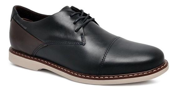 Sapato Casual West Coast Couro 187206-4 Azul /café