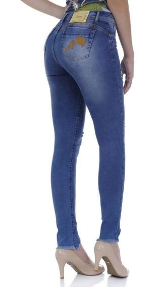 Calça Skinny Zigma Flor Azul