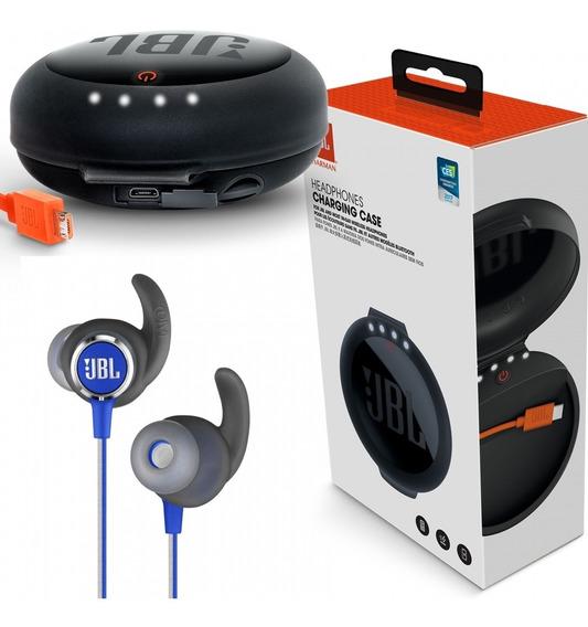 Fone Jbl Reflect Mini 2 Blue + Carregador Headphone Jbl + Nf