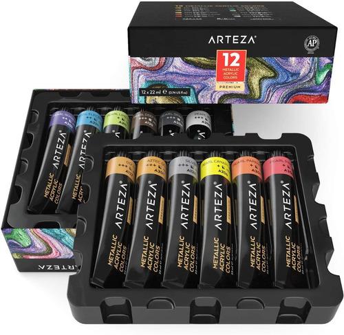 Pintura Acrilica Arteza Juego De 12 Colores / Tubos 22 Ml.