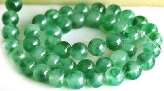 Collar De Jade Verde Con Broche De Plata De Candado