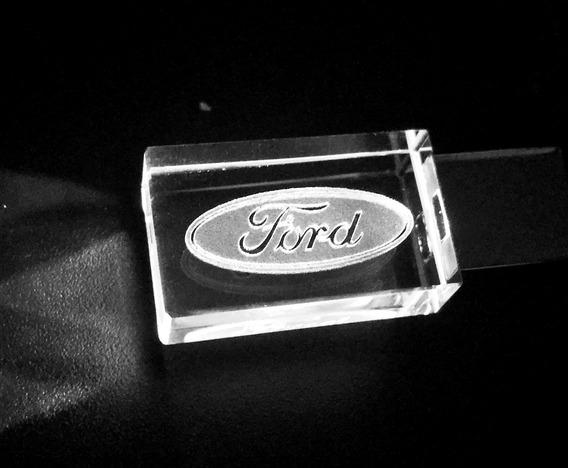 Pen Drive 32gb Cristal Led Ford Branco + Caixa Portátil