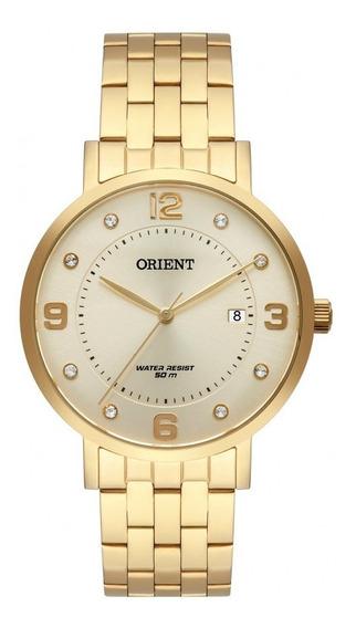 Relógio Orient Dourado Feminino Fgss1165 C2kx Com Calendário