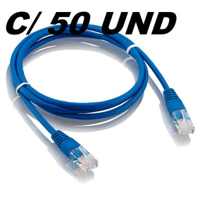 Patch Cord Azul 5m Cat5 - Kit Com 50 Unidades
