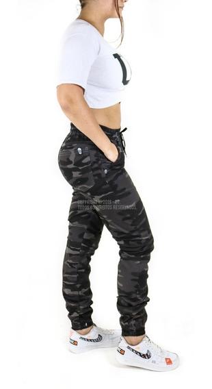 Calça Jogger Feminina Jeans Punho Elástico Camuflada Moletom