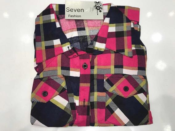 Camisa Xadrez Feminina Com Botões Bolsos Viscose Importado