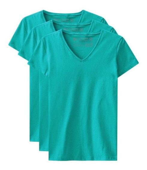 Kit De 3 Camisetas Babylook Básicas Gola V