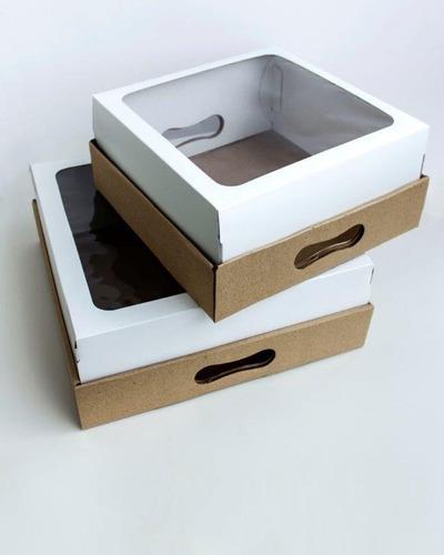 Cajas Desayunos Con Tapa Visor Y Bandeja, 30×30×12 - 10 Un.