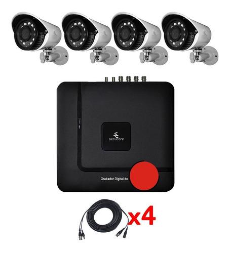 Imagen 1 de 6 de Kit Cctv Circuito Cerrado Video Vigilancia 4 Camaras Bullet