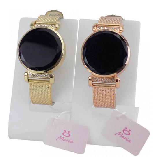Kit 2 Relógio Feminino Digital Led Dourado