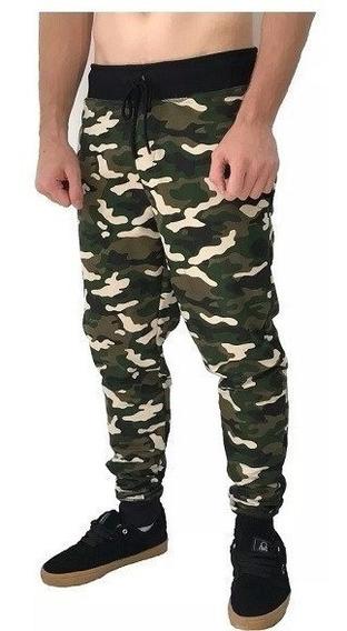 Calça Slim Moletom Roupa Camuflado Militar Liso Vd Masculino