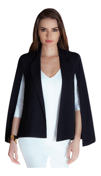 Saco Negro Para Mujer De Gabardina Megashoes Sf70500252