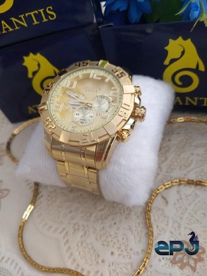 Relógio Atlantis + Cordão Folheado