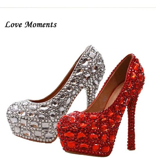 Sapato Scarpin Cristal Com Strass Modelo Luxo