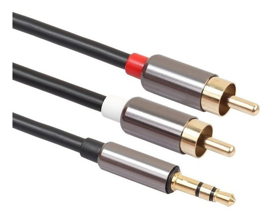Cable Auxiliar Audio Sonido Rca A Plug 1 Metros 3.5mm Kin
