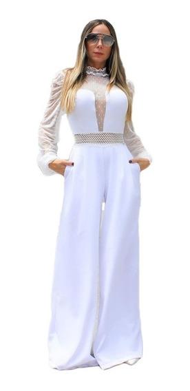 Macacão Longo Flare Pantalona Tule E Renda Branco Festa