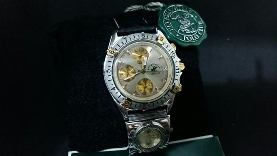 Relógio Polo Club Aço E Detalhes Ouro= Omega, Longines, Mido