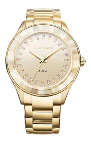 Relógio Technos Feminino Dourado Elegance Cristais 2035ltv4x