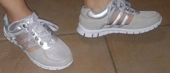 Zapato Deportivo Color Plateado Talla: 36