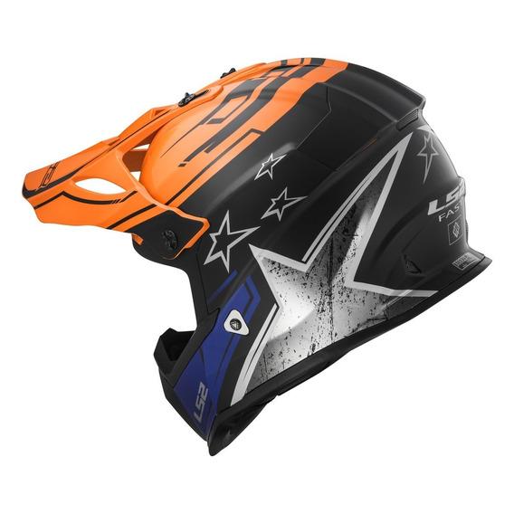 Casco De Cross Moto Ls2 437 Fast Core Blue Orange Yuhmak