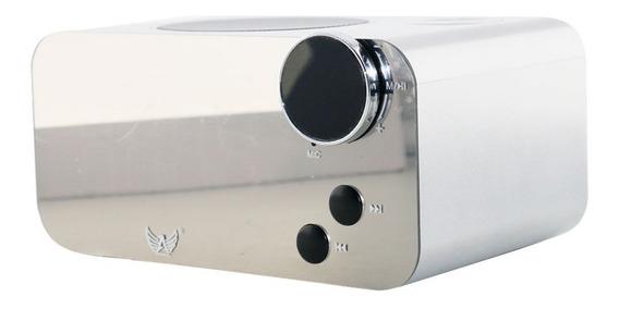Caixa De Som Bluetooth Com Relógio At-125 - Prata