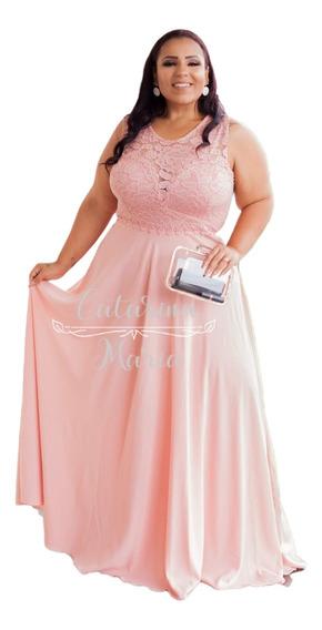 Vestido Plus Size Longo Madrinha Fomanda Rose Chá Evasê Eg