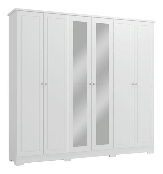 Guarda Roupa Casal Espelho 6 Portas Branco Kappesberg