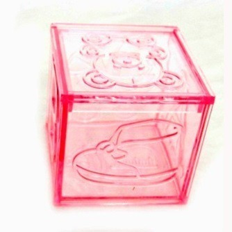 12 Caixinha Acrílica Rosa Ou Azul 5x5 Chá De Bebê Lembrança