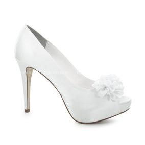 384f58f668 Sapato De Noiva Peep Toe Divalesi - Branco - 86007-c