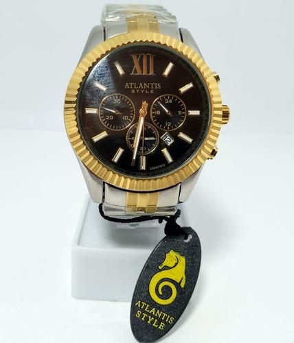 Relógio Atlantis Style Prata Fundo Preto - A3284