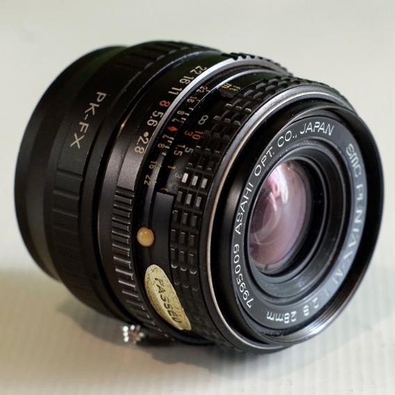Lente Pentax M 28mm F2.8 C Adaptador P Fuji X