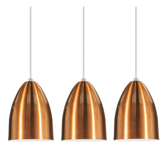 Conjunto 3 Lustres Pendentes Cone Aluminio Tom Cobre E-27