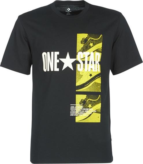 Converse Remera M/corta Lifestyle Hombre One Star Negro Fkr