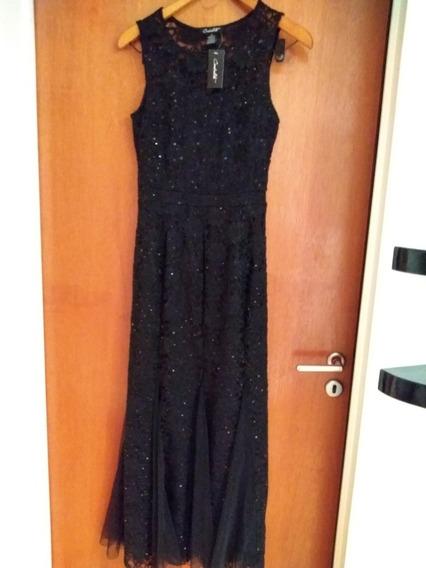 Vestido Largo De Fiesta Negro Con Brillo