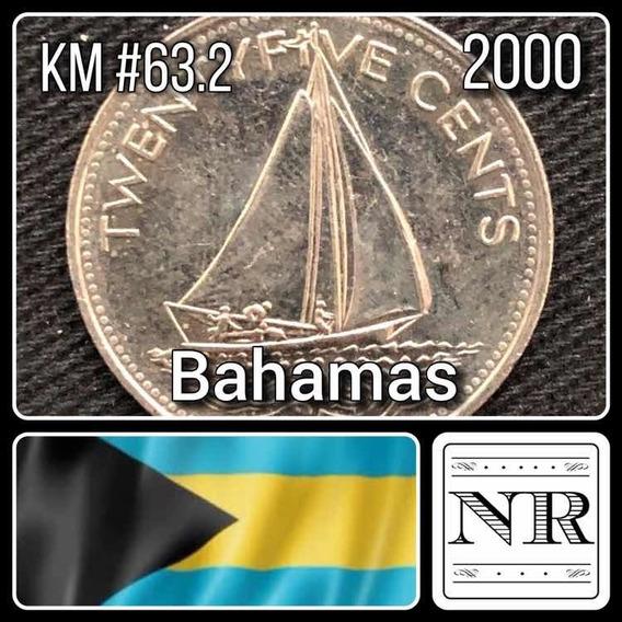 Bahamas - 25 Cents - Año 2000 - Km # 63.2 - Barco A Velas