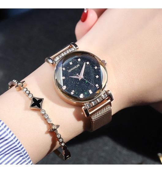 Promoção Relógio Feminino Pulseira Magnética Strass Rosé
