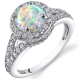 Creado Opal Halo Ring Sterling Plata 1.25 Quilates Tamaño 5