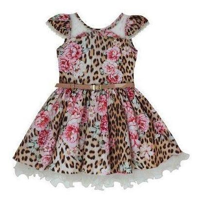 Vestido Infantil De Festa Estampa De Onça Katitus