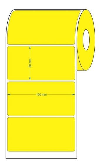 10 Rolos Etiqueta Adesiva Couche 100x50 | 10x5 (cm) Amarela