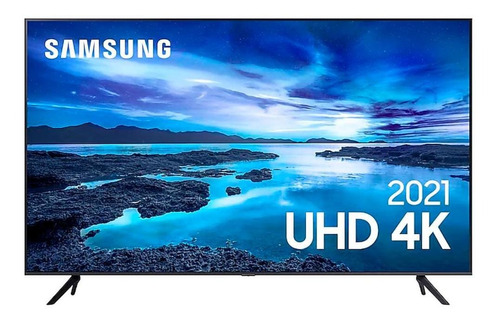 Imagem 1 de 6 de Smarttv Samsung 55  Uhd 4k 55au7700 Cinza Titan Bivolt