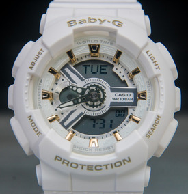 Relógio Baby-g G-shock Feminino Branco Com Dourado Ba110ga