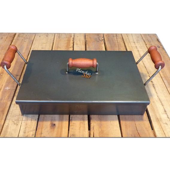 Plancha Bifera Con Tapa Super Alta 2 Hornallas 48x30x8cm