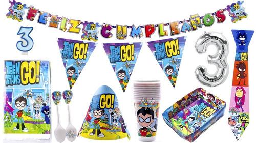 Kit Decoración Fiesta Jóvenes Titanes - Teen Titans Go