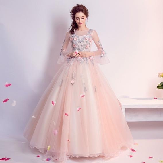 Vestido Quinceañera Barato Flores Hermoso Encaje Quince Años