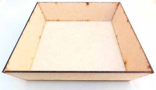 Imagen 1 de 4 de Kit Bandeja Lisa 20x20 X10uni Mdf Fibrofacil Combo Mayor Set