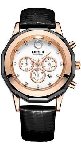 Relógio Megir De Luxo Modelo 2042 Original Pulseira Couro Pr