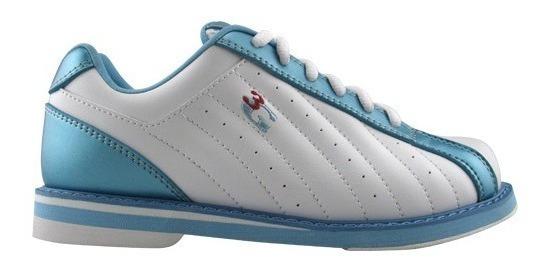 Zapatos Para Boliche Femenil Kicks Marca 3g Blanco/azul
