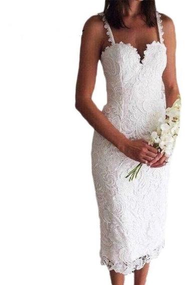 Vestido Encaje Blanco Elegante Tipo Lapiz Fiesta Novia Boda