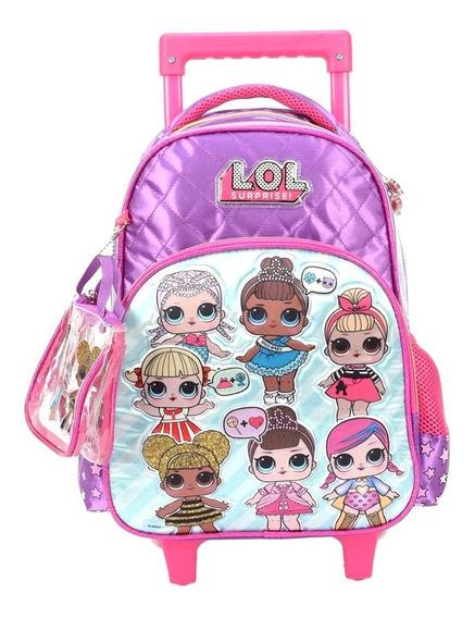 Mochila Rodinha Lol Surprise Pink Grande C/ Necessaire M2020