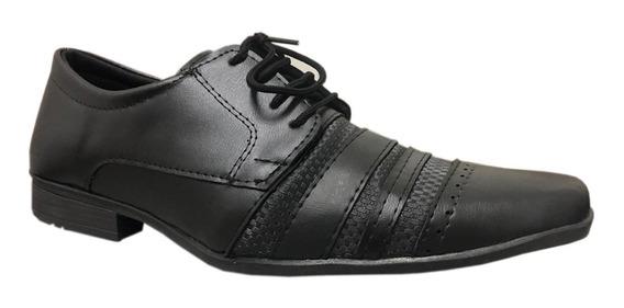 Sapato Social Masculino Preto Bico Fino Fosco Com Cadarço